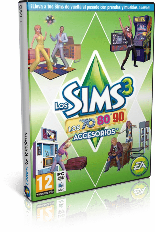 Cover Caratula Sims 3 Decadas 70s 80s 90s