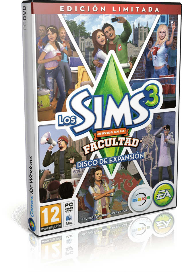 Cover Caratula Los Sims 3 Movida En La Facultad PC